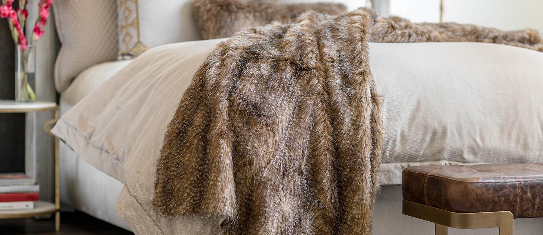 luxury interior design textured fur pillows